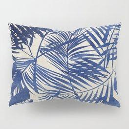 Cobalt Blue Tropical Leaf Pattern Pillow Sham