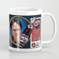 dwight schrute Mugs featuring Dwight Schrute  |  Beet Cola Advertisement by Silvio Ledbetter