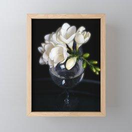white freesia in a glass Framed Mini Art Print