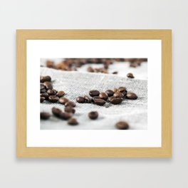 flax surface and coffee Framed Art Print