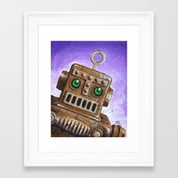 steam punk Framed Art Prints featuring i.Friend: Steam Punk Robot by CHRIS MASON
