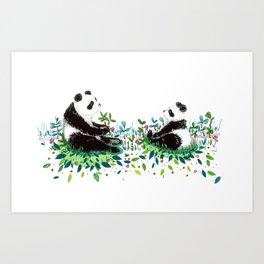 Peaceful Pandas Art Print