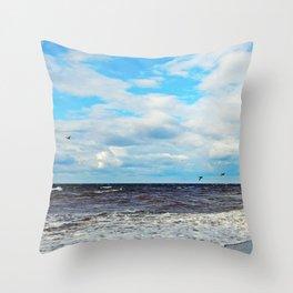 Flying Cormorants Throw Pillow