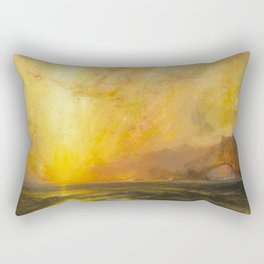Golden Sunset and Sky over a Troubled Sea landscape painting by Thomas Moran Rectangular Pillow