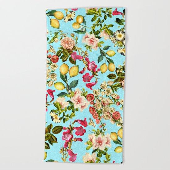 Lemon and Leaf Pattern IV Beach Towel