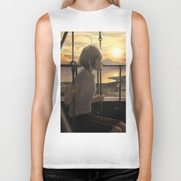 Beautiful Anime Girl Sunset Biker Tank