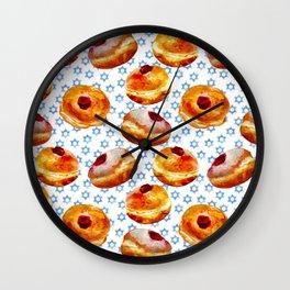 My Bubbie's Hanukkah Jelly Donuts (Hanukkah Sufganiyot) Wall Clock
