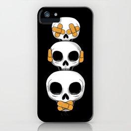 Cute Skulls No Evil II iPhone Case