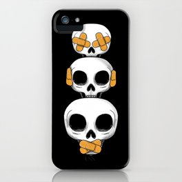 Cute Skulls No Evil II iPhone Case