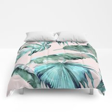 Tropical Palm Leaves Turquoise Green Coral Pink Comforters
