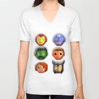 avenger V-neck T-shirts featuring The Avenger Pixel by Aulia-pyon
