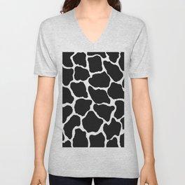 Trendy modern black white giraffe animal print Unisex V-Neck