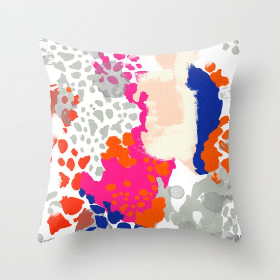 Mica - bright happy abstract painting trendy color palette modern home decor nursery art Throw ...