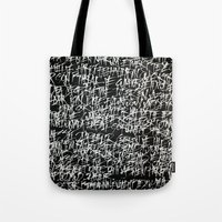 calligraphy Tote Bags featuring calligraphy by nihal ekinci