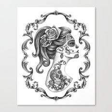 Sugar Skull Girl Cameo Canvas Print