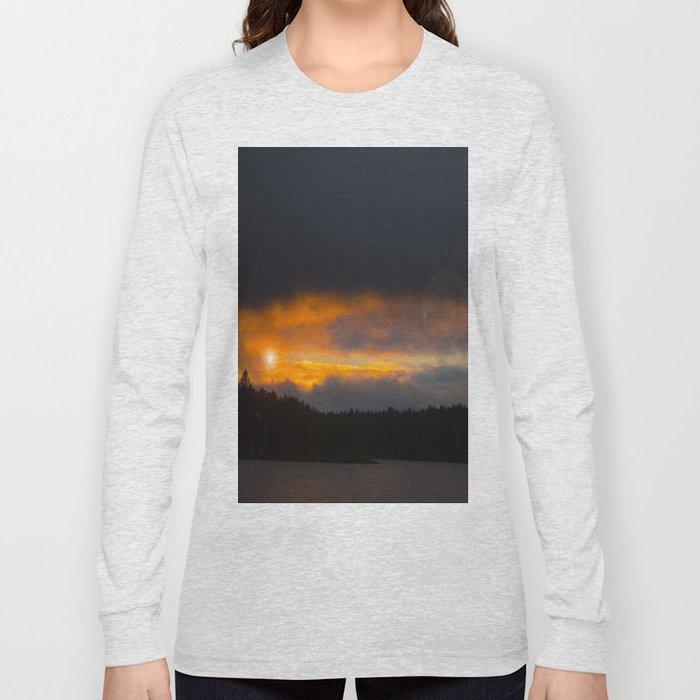 October Cloudy Sunset #decor #buyart #society6 Long Sleeve T-shirt