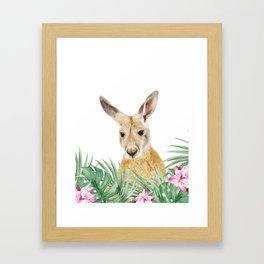 Kangaroo, Tropical leaves and flowers, Animal, Nursery, Trendy decor, Interior Art Print Framed Art Print