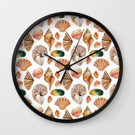 Coral pink orange watercolor nautical seashells Wall Clock