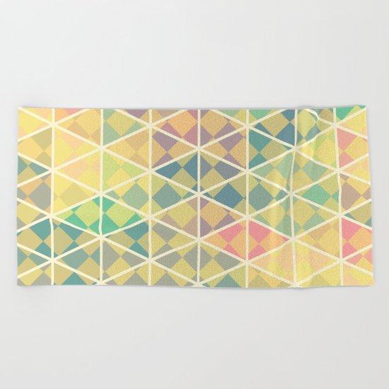 Green mosaic checkered art Beach Towel