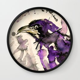 Watercolor Crow Sketch No.6A by Kathy Morton Stanion Wall Clock
