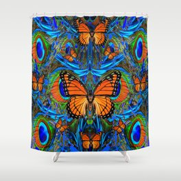 """""""FOR THE LOVE OF MONARCHS & BLUE PEACOCKS"""" Shower Curtain"""