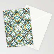 Multi-colored plaid . 3 Stationery Cards