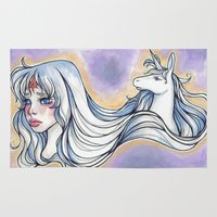 the last unicorn Area & Throw Rugs featuring The Last Unicorn by jinbins