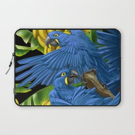 Hyacinth Macaws and bananas Stravaganza (black background). Laptop Sleeve