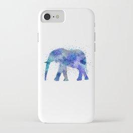 Blue Watercolor Elephant iPhone Case