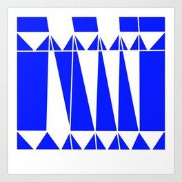 geometric pattern blue white Art Print