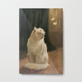 White Cat and Two Brimstone Butterflies by Arthur Heyer Metal Print