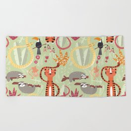 Rain forest animals 004 Beach Towel