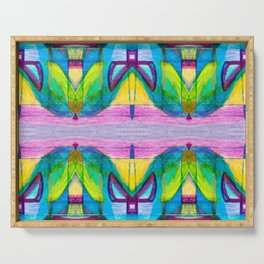 Geometric Kaleidoscope Trippy Times Serving Tray