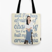 glee Tote Bags featuring Brittana - Glee - Santana Lopez [Solo] Landslide typography minimalist design by Hrern1313