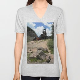 Climbing Up to the Longfellow Mine at 11,080 Feet Unisex V-Neck