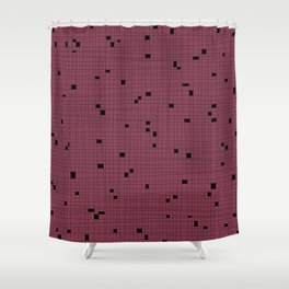 Red Plum and Black Grid - Missing Pieces Shower Curtain
