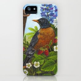 Robin and Old Wooden Bucket iPhone Case