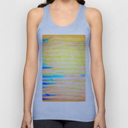 Orange Pantone Ocean Blue Lines Unisex Tank Top