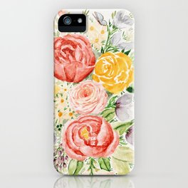 Pink Peonies and Wildflowers iPhone Case