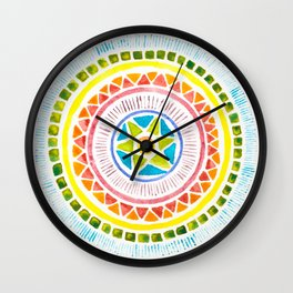 Rainbow Chakra Watercolor Mandala Wall Clock