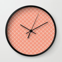 Coral Salmon Scales Print Pattern Wall Clock
