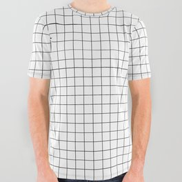 Black and White Thin Grid Graph All Over Graphic Tee