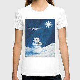 Until Us A Child Is Born  Snowmen Painting By Annie Zeno T-shirt