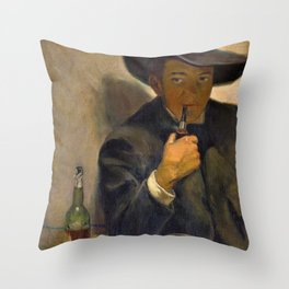 Self-portrait With Broad-brimmed Hat - Diego Rivera Throw Pillow