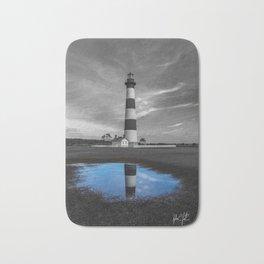 Carolina Blue Sky Puddle at Bodie Island Lighthouse Bath Mat