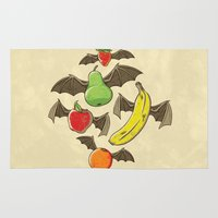 bats Area & Throw Rugs featuring Fruit Bats by WanderingBert / David Creighton-Pester