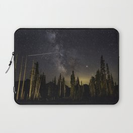 Night Sky over Paradise at Mount Rainier with Shooting Stars Laptop Sleeve