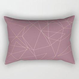 Rose Gold Geometrical Print on Dusty Rose Rectangular Pillow