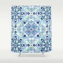 Navy Blue, Green & Cream Detailed Lace Doodle Pattern Shower Curtain
