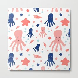 Underwater. Cute octopuses Metal Print